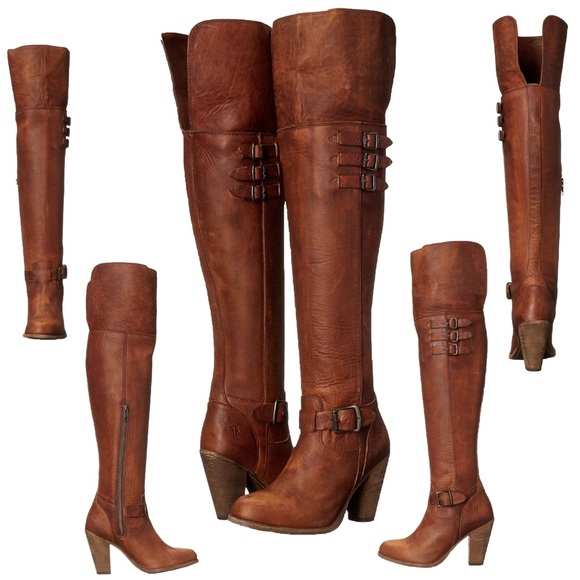 c7382d908be Frye Jenny cognac belted OTK Boot over the top 5.5
